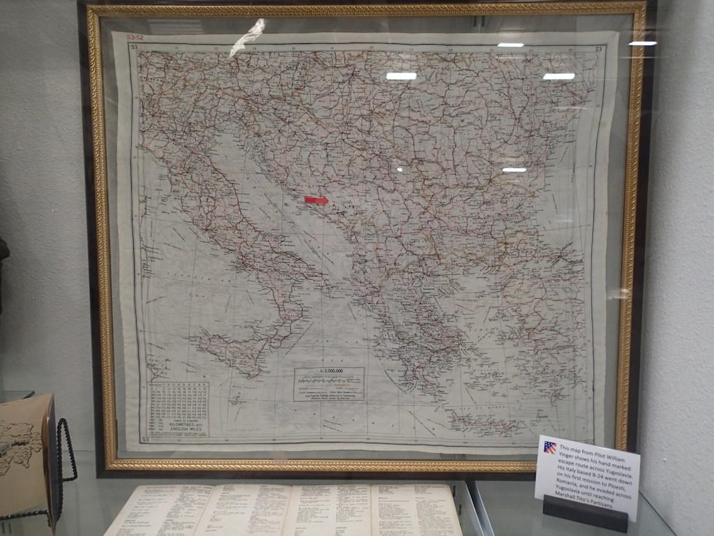 Map showing pilot escape route