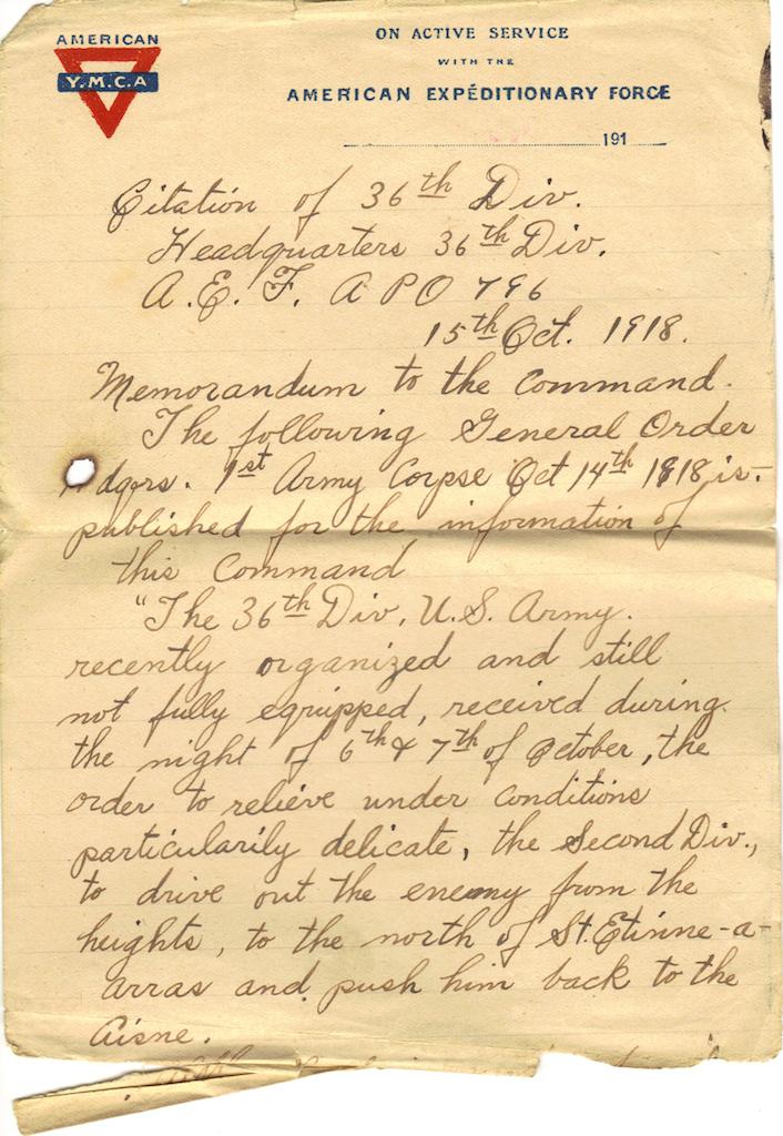 World War I Citation of the 36th Div Pg1