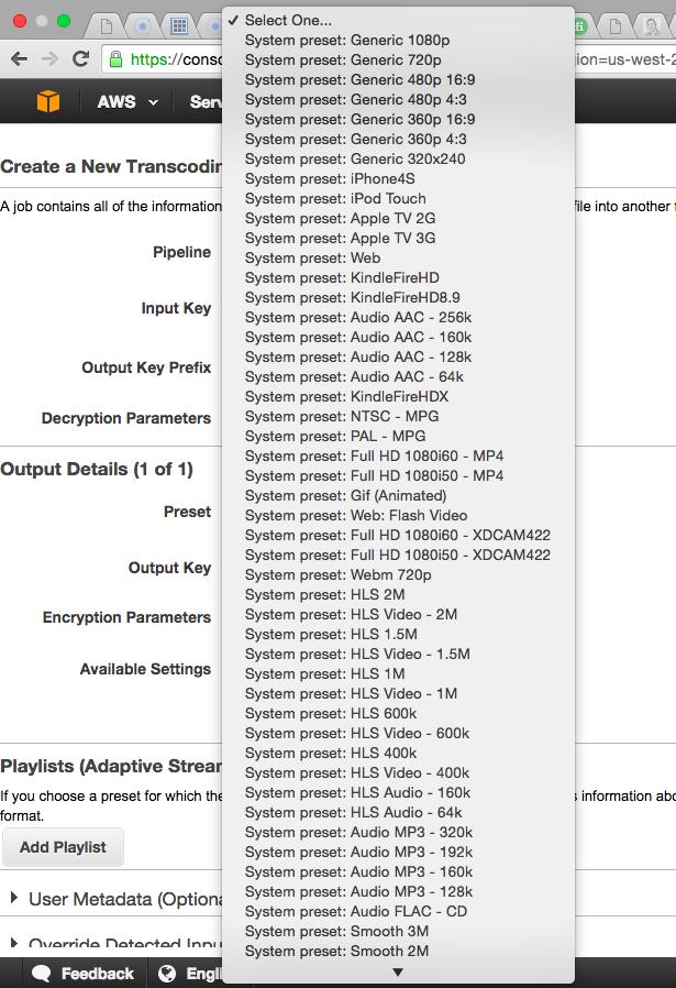 AWS Elastic Transcoder w Apple HLS