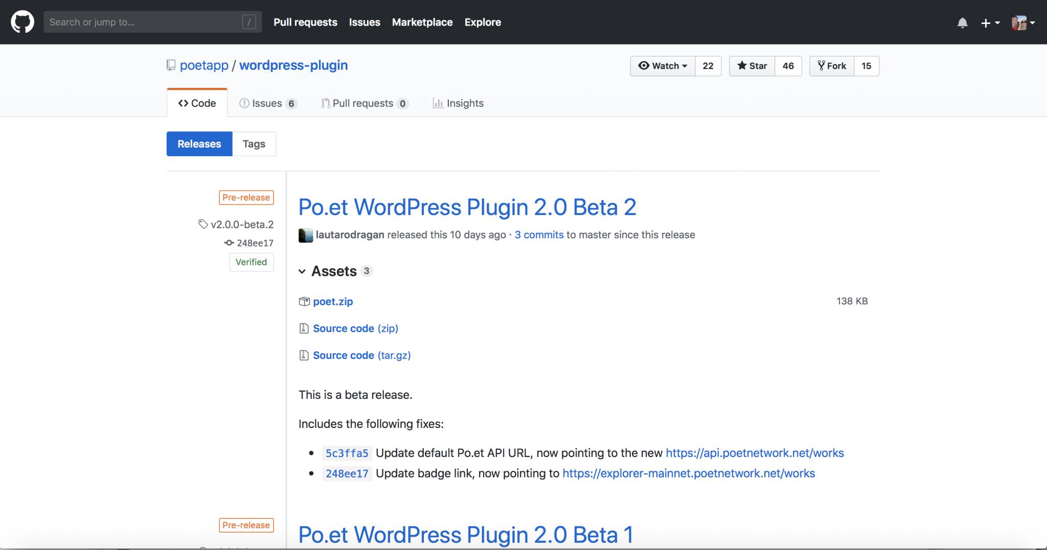 Po.et on Mainnet wordpress plug-in