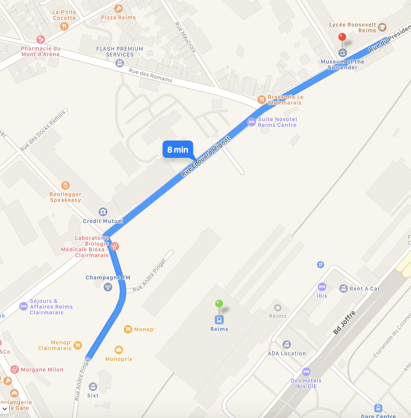 Map from train station