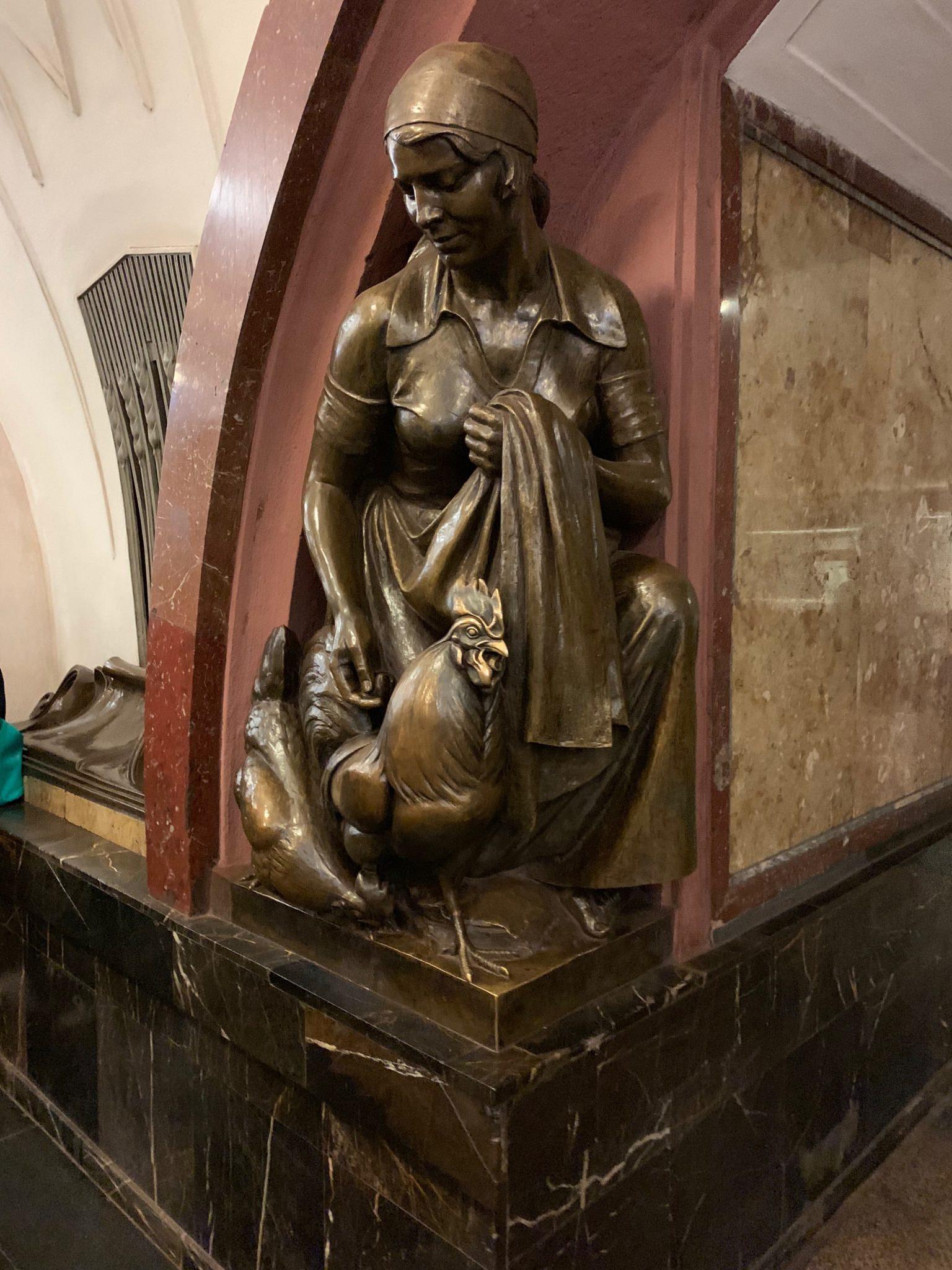 Moscow Metro Farm Girl Sculpture