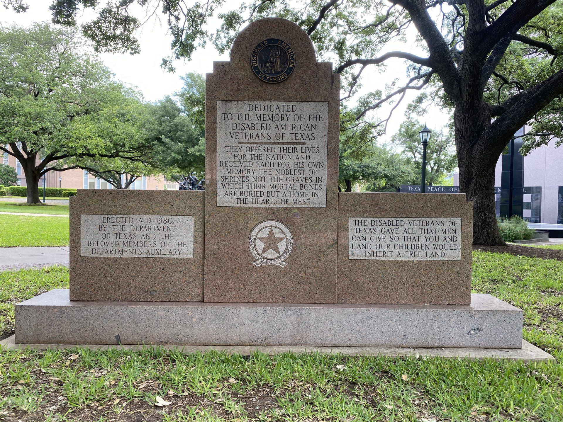 Disabled Texas Veterans memorial at Texas Capitol