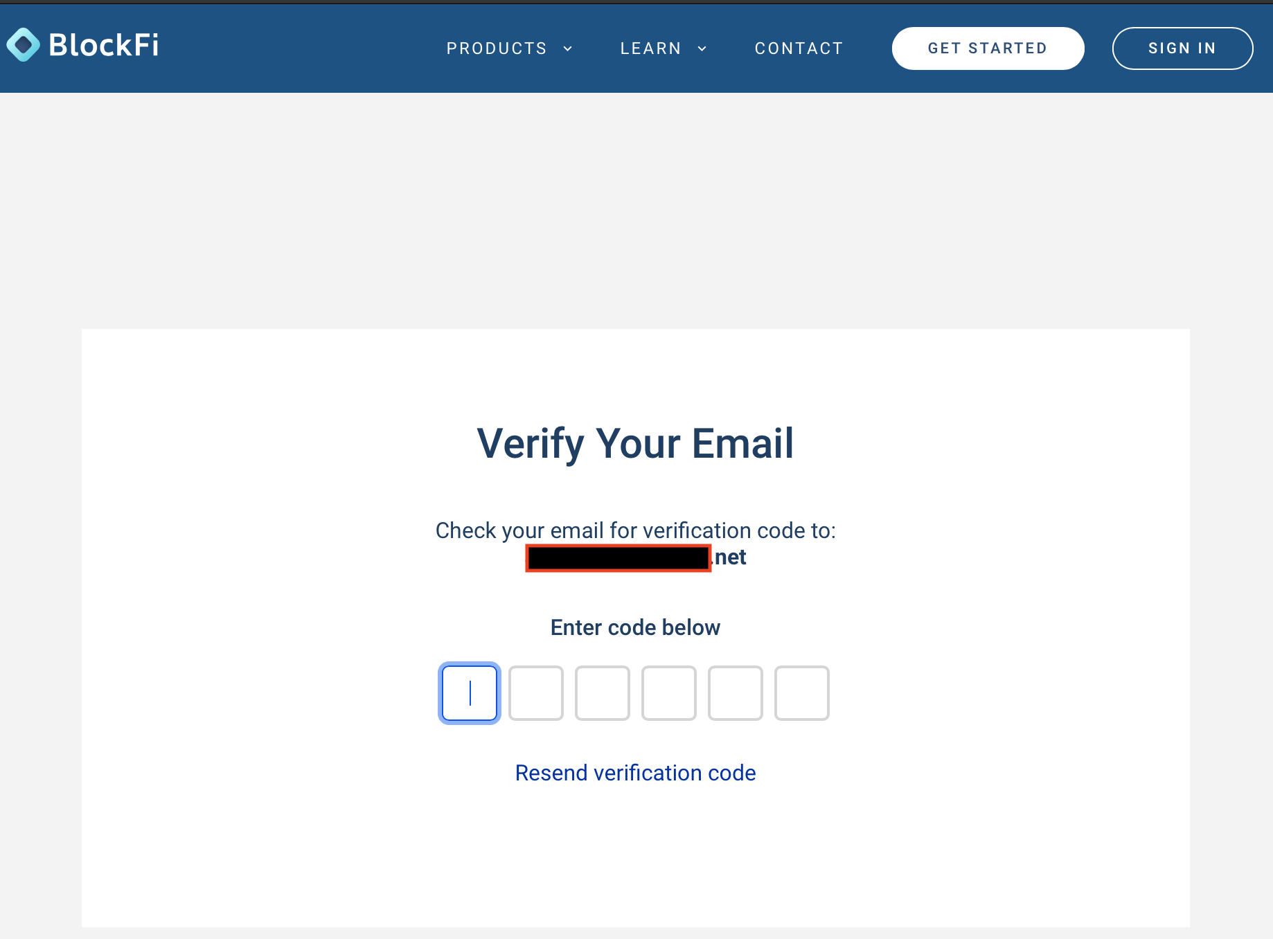 BlockFi verify email