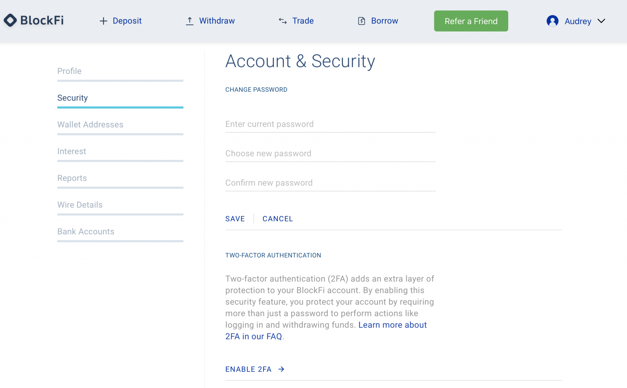 BlockFi security settings