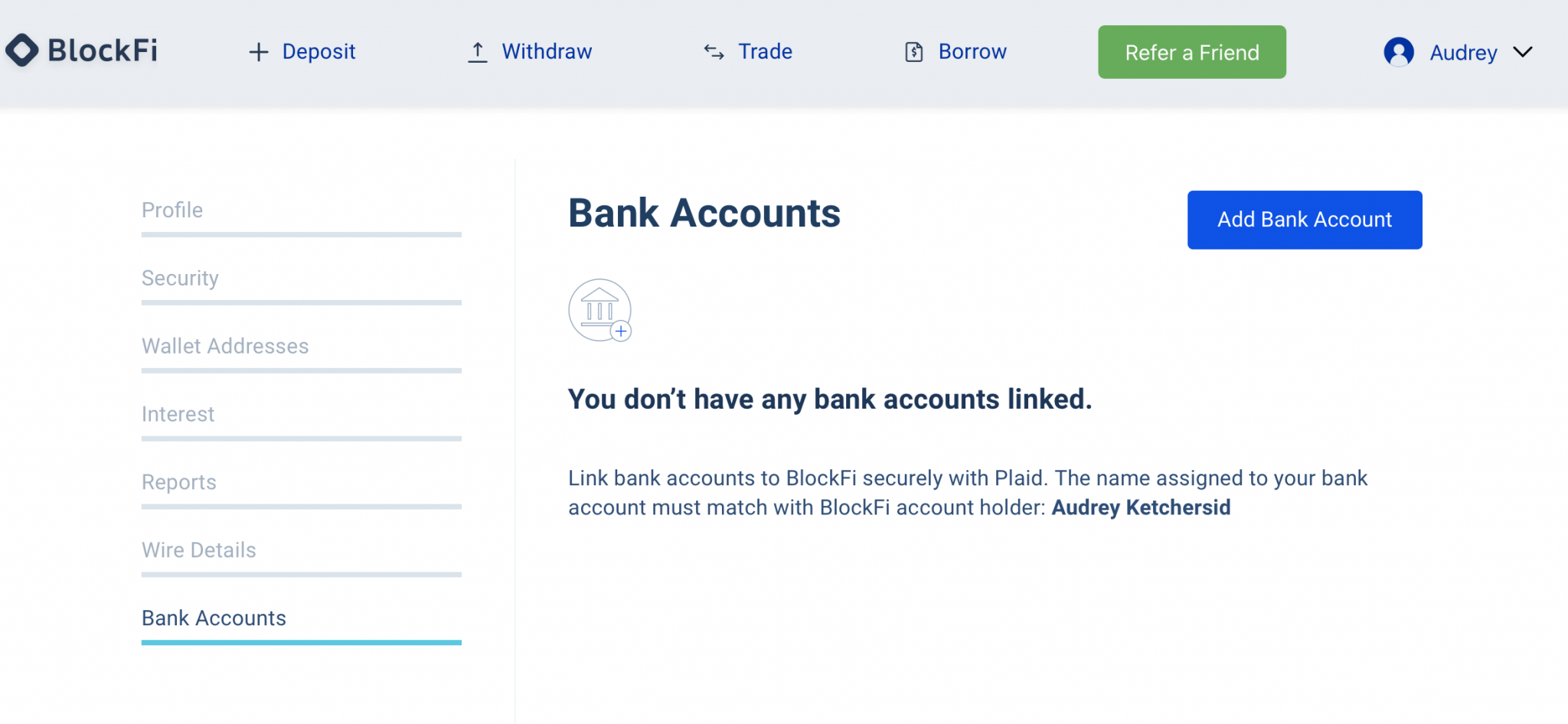 BlockFi ACH Bank Account