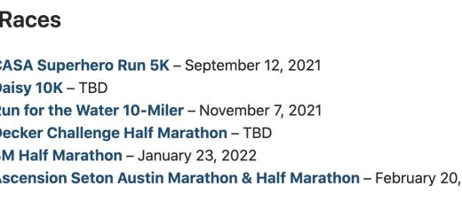 Austin Distance Challenge schedule