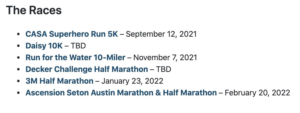 Austin Distance Challenge 2021 - 2022 Races